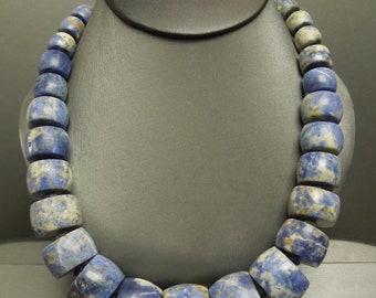 "Vintage Estate C1980 Ancient Style Intense Blue Sodalite Large Statement Bead Gemstone Necklace 18"" - 20"""