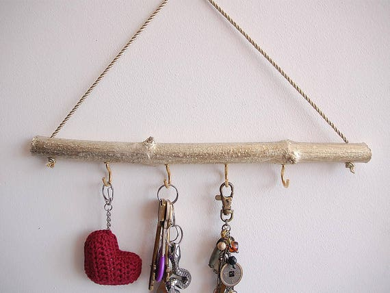Gold jewelry holder for wall Birch branch decor Hanging