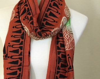 Handwoven Tusser Silk Hand  block printed  orange and green Scarf/Stole/Wrap