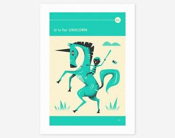 U is for UNICORN (Giclée Fine Art Print/Photo Print/Poster Print) by Jazzberry Blue