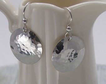 Sterling Silver Disc Earrings, Hammered Disc