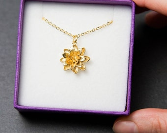 Lotus necklace. Gold flower necklace. Gold lotus necklace.