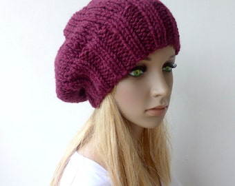 Maroon Slouchy hat Burgundy knit hat Knit slouch hat mens winter hat