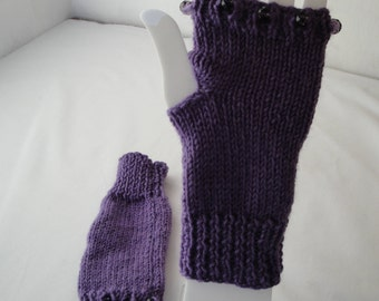 purple knit handwarmers, merino wool mittens, bead trim mitts, texting gloves, fingerless mitts, holiday gift for her, wool wristwarmers