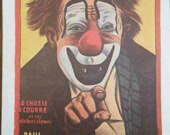 CLOWN Vintage Circus Poster Print - Cirque d' Hiver de Paris Poster Size Vintage Book Plate