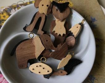 Vintage Wooden Charms, animal charms, kids charms, dog charm, Minimalist Charms, Wood Pendants, Animals, owl charms, DIY #1138