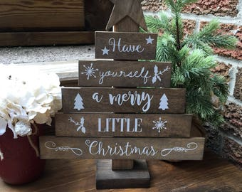 Have yourself a merry little Christmas. Christmas Tree Sign. Christmas Sign. Christmas Decor. Merry Christmas. Wooden Christmas Tree.