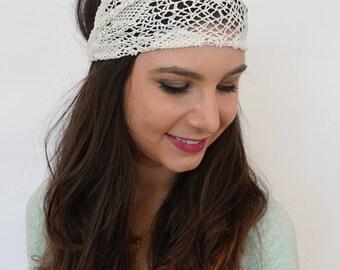 White Lace Headband Wide HeadBand Wrap Crochet Lace Headband Bohemian Head Wrap Womens Headband Girls Headband - or Choose Color