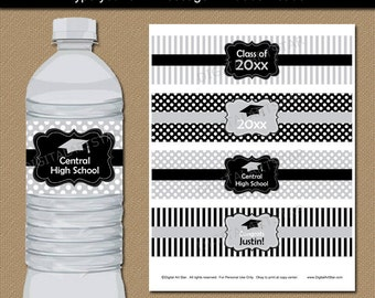 College Graduation Water Bottle Labels - Downloadable High School Graduation Party Decor - Black Silver Printable Water Labels Template G4