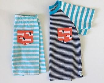 12-18M Boy - Striped Toddler Tee - Toddler Boy Set - Upcycled Kids Clothes - Eco Friendly Kid Clothes - Boy Raglan Tee - Dachshund Tee