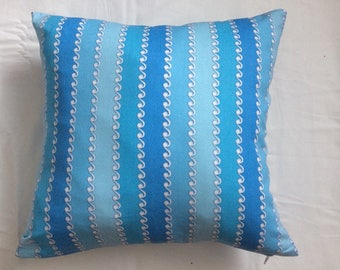 "Nursery Pillow Cover, 16""x16"" Blue Stripes Pillow Cover"