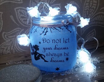 Glass Jar with lights...fairy quote ..birthday gift ..night light ..lilac and blue