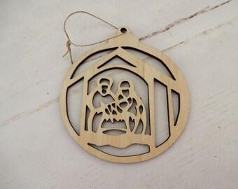 Nativity Manger Scene, Rustic Christmas Decor, Holiday Hanging Decor, Christmas Gift Tag, Christmas Gift, Window Decor, Laser Cut Decor