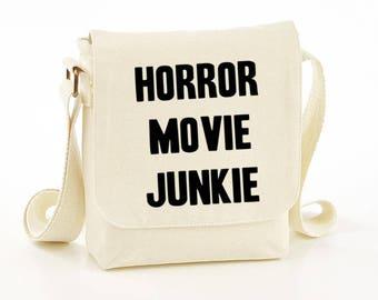 Horror movie junkie messenger bag - horror messenger bag - horror bag - horror bags - horror gift idea - horror shoulder bag - gift idea