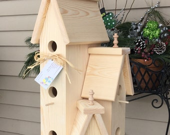 Large Unfinished Solid Pine Wood Outdoor Birdhouse Condo Bird House