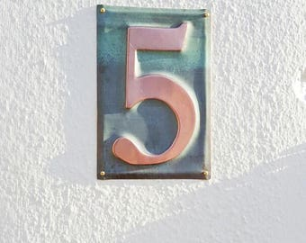 """Housewarming Gift - Large Metal house  number  6""""/150mm high  in polished and   patinated copper sheet, 1 x number g"""