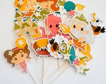 Mermaid Cupcake Toppers, Cupcake Flags, Cupcake Toothpick Party Decor - Double-sided Deluxe Size