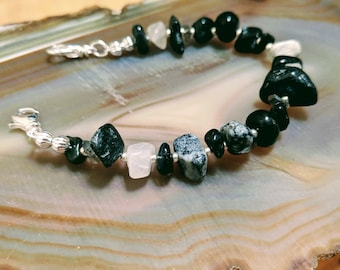 Stormy Night black and grey gray multicolor gemstone medical alert bracelet available in five sizes