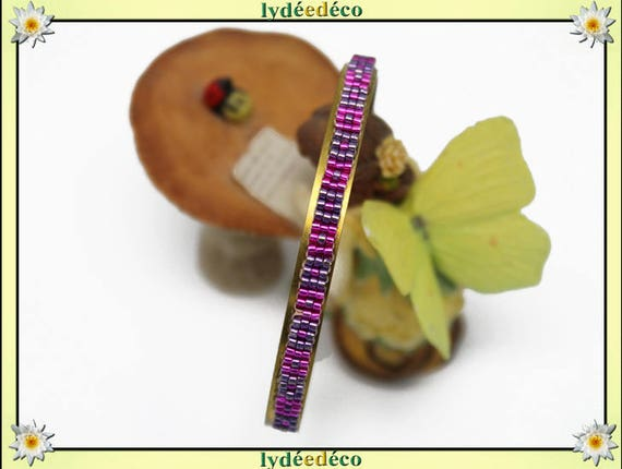 Bangle is 6mm pastel purple and pink gold-plated brass and glass Japanese beads weaving