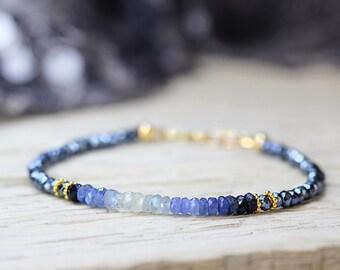 Blue Sapphire Bracelet - Ombre Bracelet For Girlfriend - September Birthstone Bracelet - Birthstone Jewelry For Her