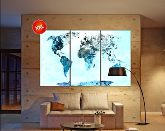 navy blue black world map  print on canvas wall art navy blue world map  Art Print artwork large world map Print home office decoration
