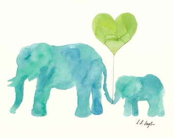 Baby Shower Gift, blue watercolor elephants, mom and baby, elephant painting, nursery decor, nursery art, 8x10, home decor, wall art, blue