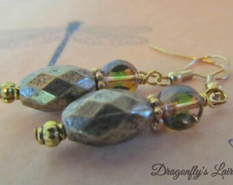 Faceted Gold-tone Glass Bead Earrings