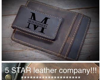 Cowhide leather money clip, personalized leather money clip, personalized cowhide leather money clip, credit card wallet