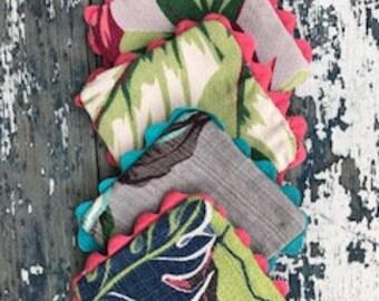 Handmade coasters made from vintage barkcloth