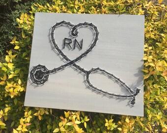 Stethoscope, MD-RN-LPN, String Art Wood Sign-Medical Profession-Medicine-Art