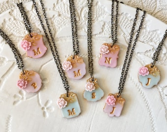 Mint Bridesmaid Gift, Blush and Pink Bridesmaid Letter Necklace to match David's Bridal Dress, Bridesmaids Set of 8