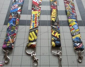 Marvel Comic Lanyard Captain America Iron Man Hulk Thor SpiderMan Avengers Super Hero Comic Book Keychain