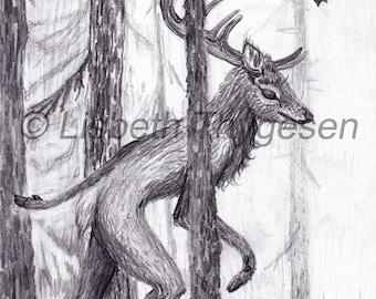 "Original art: ""Wander deer"". Deer, stag, cervidae, animal, walking, woodland, woods, creature, nature, forest, trees, antlers, wanderlust"