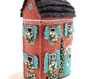 Pink Soap Box House, Mimiature, Hand Embroidered