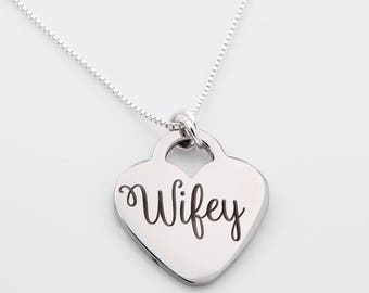 Wifey necklace, bridal gift, new wife, custom necklace, gift for bride, wedding gift personalized necklace