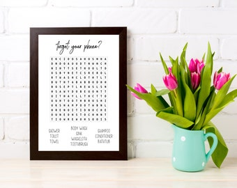 Word Search, Bathroom Wall Decor, Bathroom Signs, Bathroom Wall Art,  Bathroom Print, Learning Poster, Bathroom Printable, Poster, DOWNLOAD