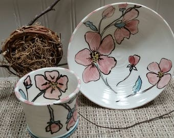 Pink Blossom Sweet Mornings Breakfast set by Sweetpea Cottage Pottery use hot or cold