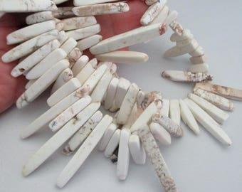 """Ivory White Spike Beads - Long Turquoise Holwite Gemstone - Square Shape Tip - Diy Ethnic Tribal Boho Necklace - 7.5"""" Strand - Beads in Bulk"""