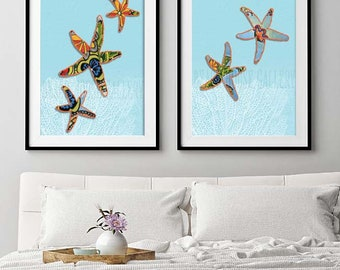 Starfish print, Starfish Wall Art, Starfish Print, Sea Creatures, Boho Coastal Decor, Beach House Wall Art