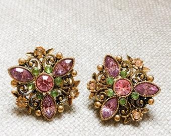 Vintage Avon Rhinestone Clip On Earrings