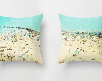 Ensemble de coussins avec Insert / / impression coussins de plage / / plage coussin impression //Turquoise coussins - Coney Island Beach