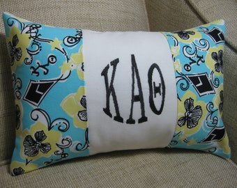 "Sorority Pillow / Kappa Alpha Theta (Lilly Pulitzer Sorority Fabric) w/ INSERT 8""x12""/Sorority Gift/ Big/ Little Gift/Bid Day/Chapter Gift"