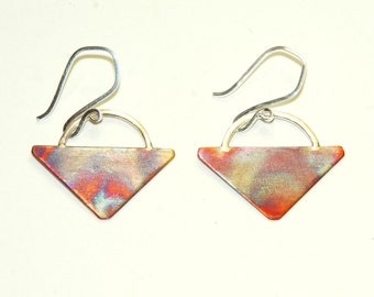 Mixed Metal Earrings - Copper Triangle - Copper and Sterling Silver - Unique - Industrial - Modern