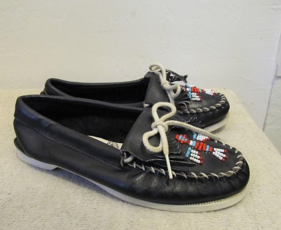 Black Vintage Beaded MOCCASINS NATIVE 80's 7 Colored By Women's AMERICAN Minnetonka 4EnqdqW