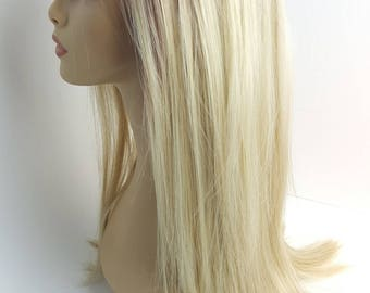 Blonde Ombre Lace Front Wig, Dark to Light Sandy Blonde Ombre Lace Front Wig, Blonde Lace Front Wig, Textured Layers, Flexible Part, Wig