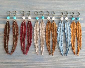 Long Earrings. Statement Earrings. Leather Earrings. Gemstone Bohemian Earrings. Boho Earrings. Leather Feather Earrings. Statement Jewelry.
