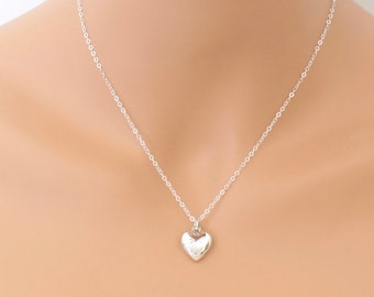 Heart Necklace, Sterling Silver, Puffed Heart, Dainty Delicate, Love Necklace, For Her, Gift