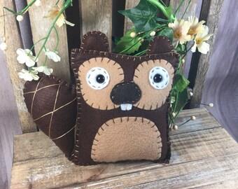 Hand Sewn Merino Wool Felt Beaver Plush toy decor