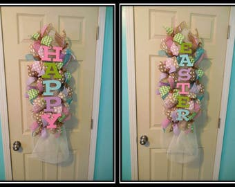 Easter Swag, Double Door Easter Swags, Double door easter wreaths, Easter wreaths,happy Easter, Easter Wreath,mesh Easter