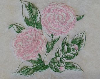 Camellia Floral Embroidered White Cotton Hand Towel English Garden Gift Present